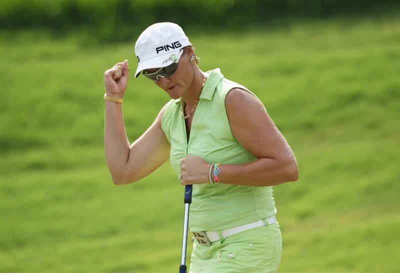 MOBILE, AL - MAY 01:  Maria Hjorth of Sweden celebrates a birdie on the 17th hole during the final round of the Avnet LPGA Classic at the Crossings Course at the Robert Trent Jones Trail at Magnolia Grove on May 1, 2011 in Mobile, Alabama.  (Photo by Scott Halleran/Getty Images)