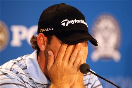 BLOOMFIELD HILLS, MI - AUGUST 06:  Sergio Garcia of Spain reacts while talking to the media during a practice round prior to the 90th PGA Championship at Oakland Hills Country Club on August 6, 2008 in Bloomfield Township, Michigan.  (Photo by David Cannon/Getty Images)