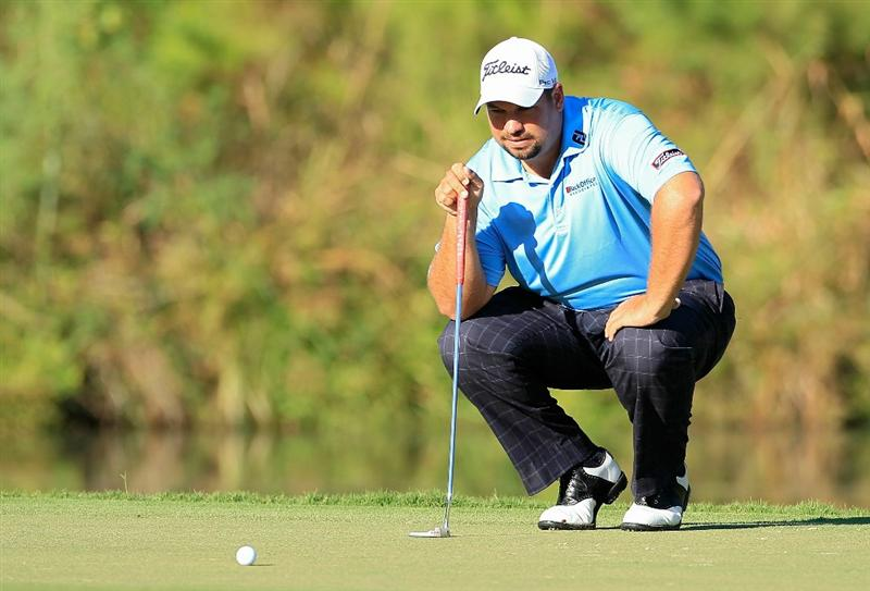 MADISON, MS - OCTOBER 01:  Brendon de Jonge of Zimbabwe lines up a putt during the second round of the Viking Classic held at Annandale Golf Club on October 1, 2010 in Madison, Mississippi.  (Photo by Michael Cohen/Getty Images)