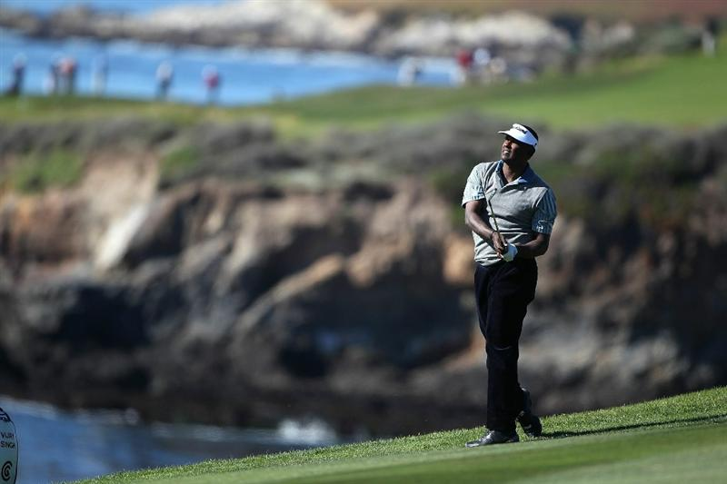 PEBBLE BEACH, CA - FEBRUARY 10:  Vijay Singh of Fiji hits from the ninth fairway during the first round of the AT&T Pebble Beach National Pro-Am at the Pebble Beach Golf Links on February 10, 2011 in Pebble Beach, California.  (Photo by Jed Jacobsohn/Getty Images)
