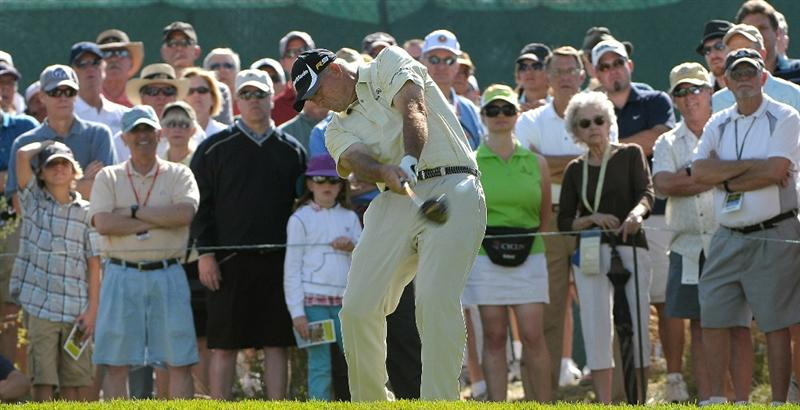 PARKER, CO. - MAY 28: Tom Lehman tees off the 11th hole during the second round of the Senior PGA Championship at the Colorado Golf Club on May 28, 2010 in Parker, Colorado.  (Photo by Marc Feldman/Getty Images)