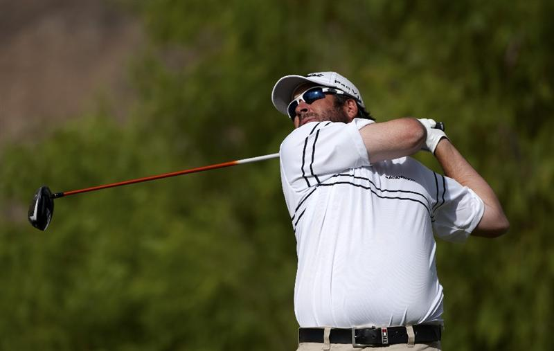 SAN JACINTO, CA - OCTOBER 04: Jerod Turner makes a tee shot on the 12th hole during the final round of the 2009 Soboba Classic at The Country Club at Soboba Springs on October 4, 2009 in San Jacinto, California. (Photo by Robert Laberge/Getty Images)