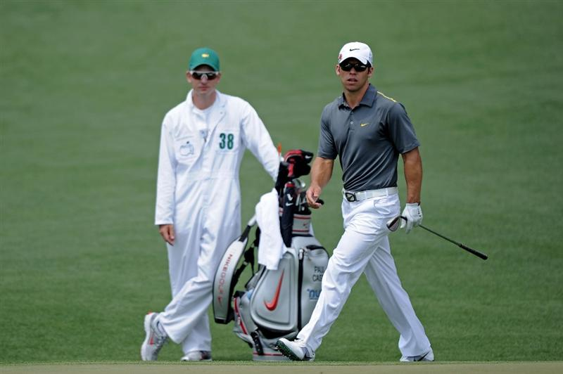 AUGUSTA, GA - APRIL 09:  Paul Casey of England waits on the second hole alongside caddie Christian Donald during the third round of the 2011 Masters Tournament at Augusta National Golf Club on April 9, 2011 in Augusta, Georgia.  (Photo by Harry How/Getty Images)
