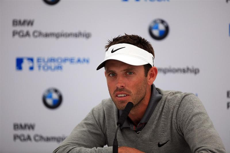 VIRGINIA WATER, ENGLAND - MAY 24:  Charl Schwartzel of South Africa during his media conference at Wentworth on May 24, 2011 in Virginia Water, England.  (Photo by David Cannon/Getty Images)