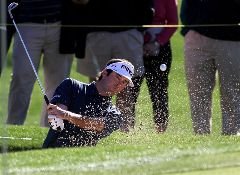 LA QUINTA, CA - JANUARY 23:  Bubba Watson hits from a bunker on the 11th hole of the Palmer Private course at PGA West during the third round of the Bob Hope Classic on January 23, 2010 in La Quinta, California.  (Photo by Stephen Dunn/Getty Images)