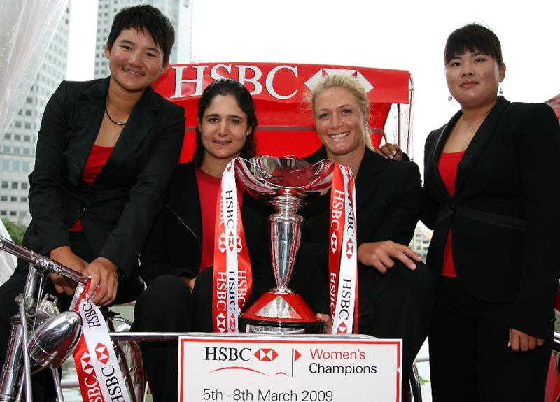 SINGAPORE - MARCH 03:  (L-R) Yani Tseng of Chinese Taipei, Lorena Ochoa of Mexico, Suzann Pettersen of Norway and Inbee Park of South Korea during a photocall in down town Singapore prior to the HSBC Women's Champions at the Tanah Merah Country Club on March 3, 2009 in Singapore.  (Photo by Ross Kinnaird/Getty Images)