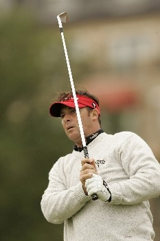 Emanuele Canonica watches his tee shot during the final round of the 2005 Celtic Manor Wales Open at Celtic Manor's Roman Road course. June 5, 2005Photo by Pete Fontaine/WireImage.com