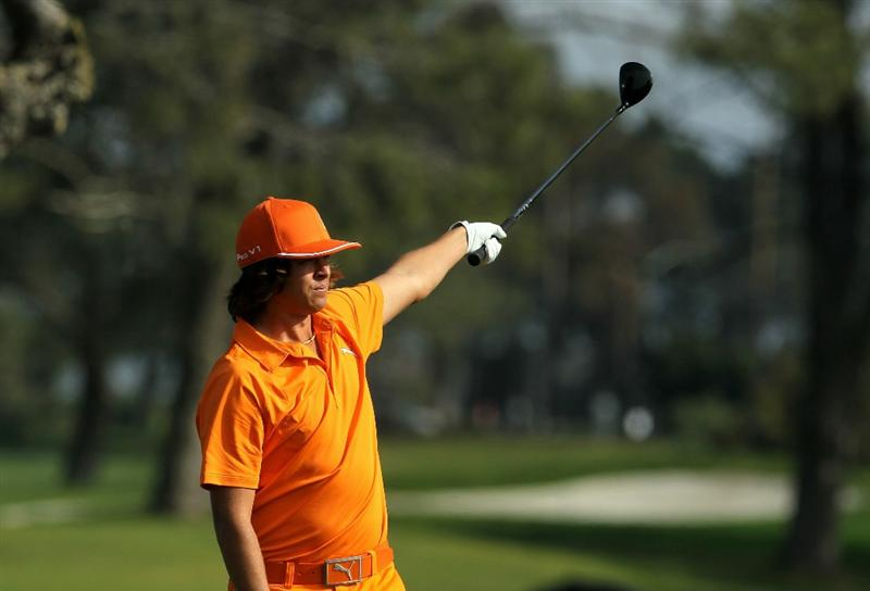 LA JOLLA, CA - JANUARY 30:  Rickie Fowler signals after hitting his tee shot wide on the second hole during the final round of the Farmers Insurance Open at Torrey Pines South Course on January 30, 2011 in La Jolla, California.  (Photo by Stephen Dunn/Getty Images)