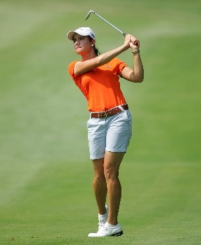 HAVRE DE GRACE, MD - JUNE 08:  Lorena Ochoa of Mexico hits her second shot on the par 4 16th hole during the second round of the McDonalds LPGA Championship on June 8, 2007 at Bulle Rock golf course in Havre de Grace, Maryland.  (Photo by Andy Lyons/Getty Images)