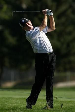 BOISE , ID - SEPTEMBER 11:  Paul Claxton hits his second shot on the 3rd hole during the first round of the Albertson's Boise Open at the Hillcrest Country Club on September 11, 2008 in Boise, Idaho.  (Photo by Jonathan Ferrey/Getty Images)