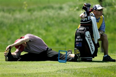 GLENVIEW, IL - JUNE 1:  Greg Chalmers stretches on the 17th tee box during The Final Round of the Bank of America Open at The Glen Club on June 1, 2008 in Glenview, Illinois. (Photo by Scott Boehm/Getty Images)