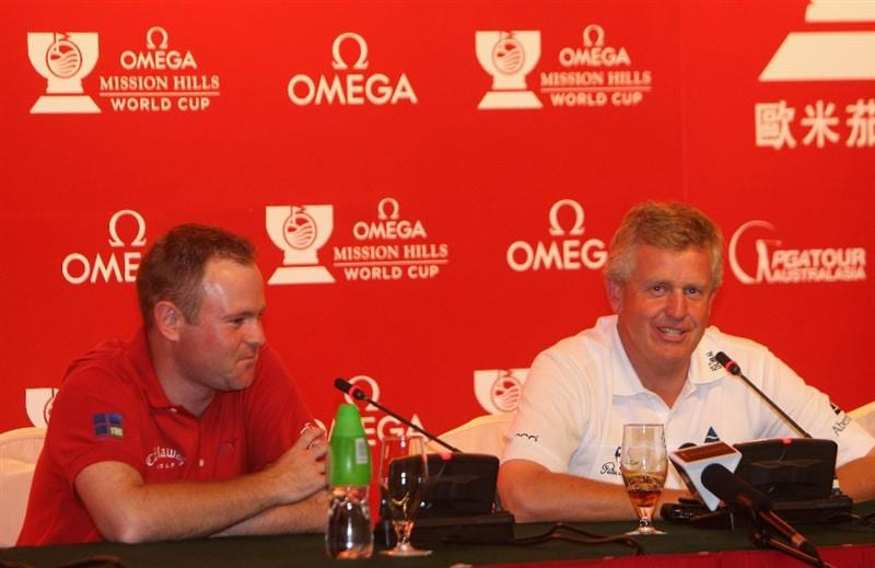SHENZHEN, CHINA - NOVEMBER 26:  Alastair Forsyth and Alastair Forsyth of Scotland during the press conference at the Omega Mission Hills World Cup at the Mission Hills Resort on November 26, 2008 in Shenzhen, China.  (Photo by Stuart Franklin/Getty Images)