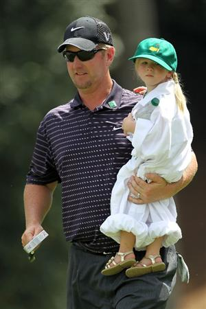 AUGUSTA, GA - APRIL 07:  David Duval holds his daughter Sienna during the Par 3 Contest prior to the 2010 Masters Tournament at Augusta National Golf Club on April 7, 2010 in Augusta, Georgia.  (Photo by Jamie Squire/Getty Images)
