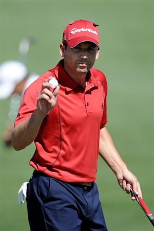 AUGUSTA, GA - APRIL 07:  Sergio Garcia of Spain waves to the gallery on the second green during the first round of the 2011 Masters Tournament at Augusta National Golf Club on April 7, 2011 in Augusta, Georgia.  (Photo by Harry How/Getty Images)