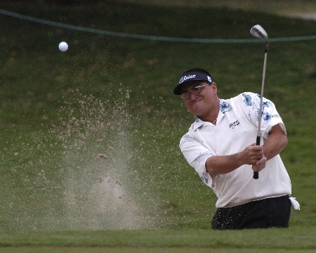 Robert Gamez blasts from the sand  during first-round competition March 3, 2005  at the Ford Championship at Doral in Miami.