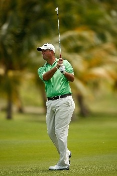 RIO GRANDE, PUERTO RICO - MARCH 22:  Brenden Pappas hits his approach shot on the 9th hole during the third round of the Puerto Rico Open presented by Banco Popular held on March 22, 2008 at Coco Beach Golf & Country Club in Rio Grande, Puerto Rico.  (Photo by Mike Ehrmann/Getty Images)