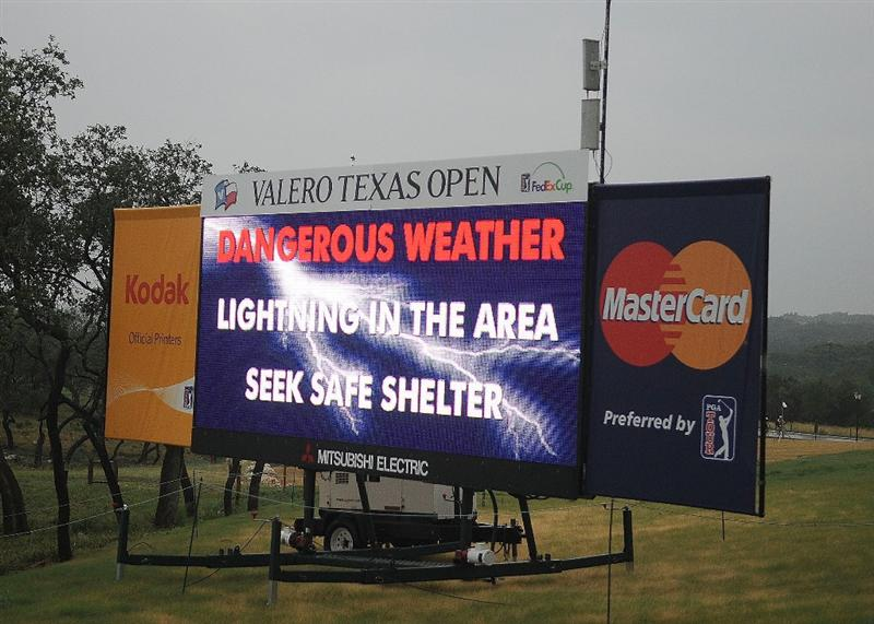 SAN ANTONIO, TX- MAY 14:  The PGA Tour calls for a five hour weather delay before beginning  second round of the Valero Texas Open at the TPC San Antonio on May 14, 2010 in San Antonio, Texas. (Photo by Marc Feldman/Getty Images)