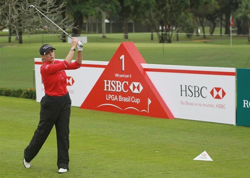 RIO DE JANEIRO, BRAZIL - MAY 28:  Cristie Kerr of the USA watches her tee shot on the first hole during the first round of the HSBC LPGA Brazil Cup at the Itanhanga Golf Club on May 28, 2011 in Rio de Janeiro, Brazil.  (Photo by Scott Halleran/Getty Images)