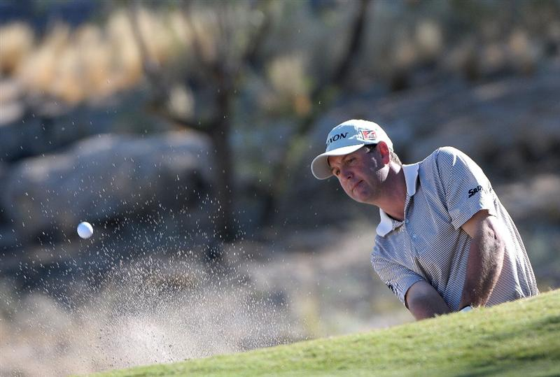 LAS VEGAS, NV- OCTOBER 16: Harrison Frazer out of the greenside bunker on the 15th hole during the second round of the Justin Timberlake Shriners Hospitals for Childeren Open at the TPC Summerland on October 16, 2009  in Las Vegas, Nevada. (Photo by Marc Feldman/Getty Images)
