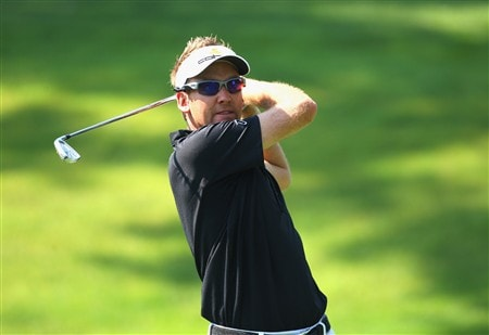 AKRON, OH - JULY 29:  Ian Poulter of England plays a tee shot during practice for the World Golf Championship Bridgestone Invitational on July 29, 2008 at Firestone Country Club in Akron, Ohio.  (Photo by Stuart Franklin/Getty Images)