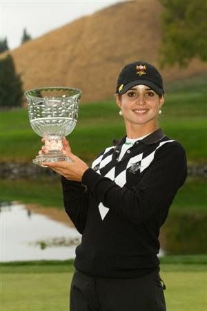 DANVILLE, CA - OCTOBER 17: Beatriz Recari of Spain poses with the champion's trophy following her victory at the  CVS/Pharmacy LPGA Challenge at Blackhawk Country Club on October 17, 2010 in Danville, California. (Photo by Darren Carroll/Getty Images)