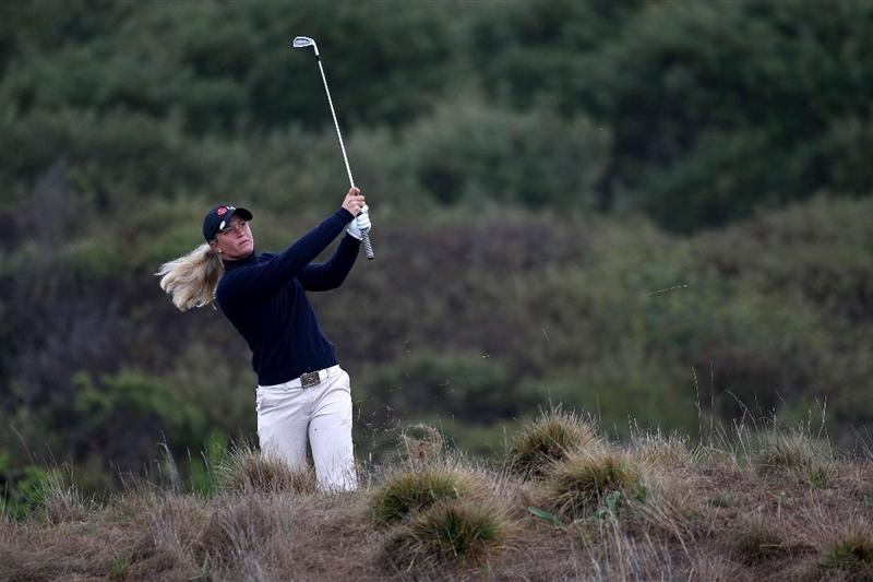 HALF MOON BAY, CA - OCTOBER 04:  Suzann Pettersen hits her second shot on the 2nd hole during the third round of the Samsung World Championship at the Half Moon Bay Golf Links Ocean Course on October 4, 2008 in Half Moon Bay, California.  (Photo by Jonathan Ferrey/Getty Images)