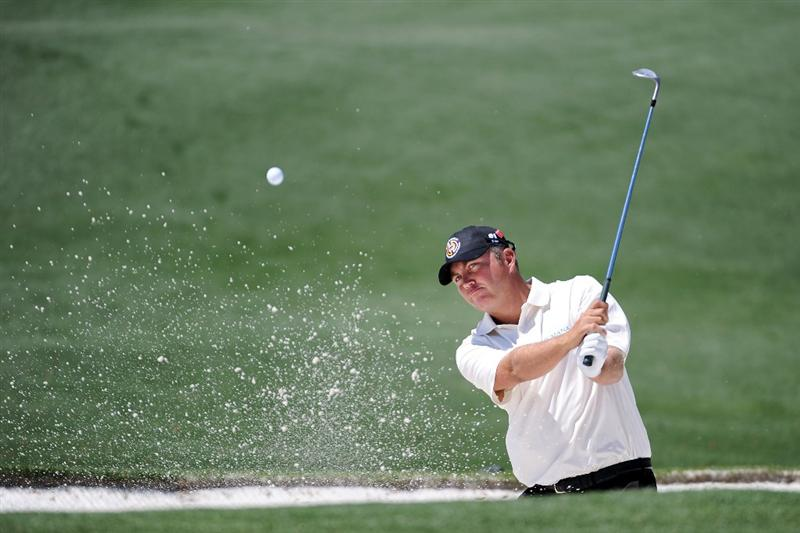 AUGUSTA, GA - APRIL 04:  Bo Van Pelt plays a bunker shot during a practice round prior to the 2011 Masters Tournament at Augusta National Golf Club on April 4, 2011 in Augusta, Georgia.  (Photo by Harry How/Getty Images)