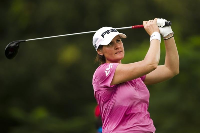 CHON BURI, THAILAND - FEBRUARY 20:  Maria Hjorth of Sweden tees off on the 3rd hole during round three of the Honda PTT LPGA Thailand at Siam Country Club on February 20, 2010 in Chon Buri, Thailand.  (Photo by Victor Fraile/Getty Images)