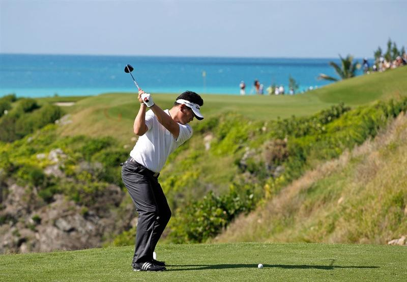 SOUTHAMPTON, BERMUDA - OCTOBER 20:  Y.E. Yang of South Korea, the 2009 PGA Championship winner, hits his tee shot on the 16th hole during the first round of the PGA Grand Slam of Golf on October 20, 2009 Port Royal Golf Course in Southampton, Bermuda.  (Photo by Andy Lyons/Getty Images)