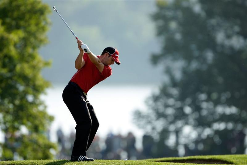 CHASKA, MN - AUGUST 13:  Sergio Garcia of Spain hits a shot on the tenth hole during the first round of the 91st PGA Championship at Hazeltine National Golf Club on August 13, 2009 in Chaska, Minnesota.  (Photo by Jamie Squire/Getty Images)