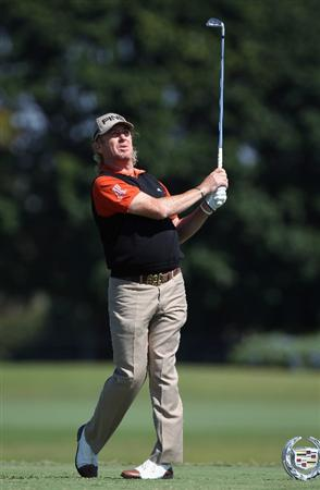 DORAL, FL - MARCH 11:  Miguel Angel Jimenez of Spain watches his tee shot on the ninth hole during the completion of the first round of the 2011 WGC- Cadillac Championship at the TPC Blue Monster at the Doral Golf Resort and Spa on March 11, 2011 in Doral, Florida.  (Photo by Sam Greenwood/Getty Images)