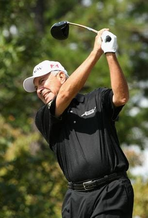 CONOVER, NC - OCTOBER 03:  Morris Hatalsky hits a tee shot on the fourth hole during the final round of the Ensure Classic at the Rock Barn Golf & Spa on October 3, 2010 in Conover, North Carolina.  (Photo by Christian Petersen/Getty Images)