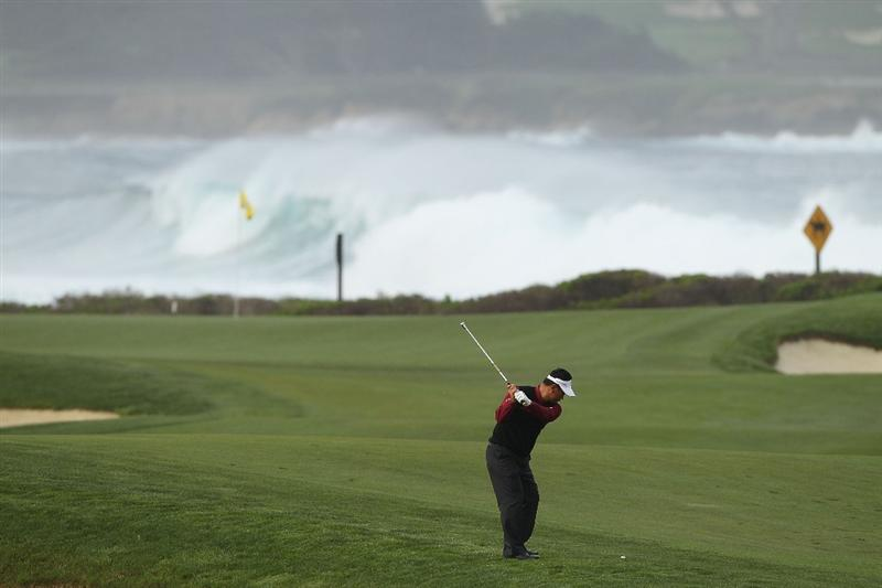 PEBBLE BEACH, CA - FEBRUARY 12:  K.J. choi of South Korea hits his second shot on the 13th hole during round two of the AT&T Pebble Beach National Pro-Am at the Monterey Peninsula Country Club Shore Course on February 12, 2010 in Pebble Beach, California.  (Photo by Ezra Shaw/Getty Images)