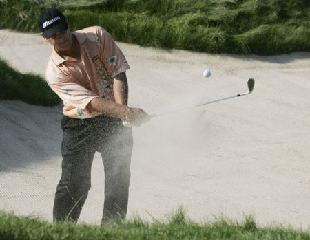 Tom Purtzer hits from a greenside bunker on the 17th hole during the final round of the 3M Championship, August 7, 2005, held at the TPC of the Twin Cities, Blaine, Minnesota. Photo by Gregory Shamus/WireImage.com
