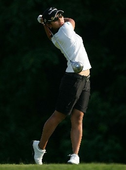 HAVRE DE GRACE, MD - JUNE 07:  Ai Miyazato of Japan hits her tee shot on the par 4 9th hole during the first round of the McDonalds LPGA Championship at Bulle Rock golf course on June 7, 2007 in Havre de Grace, Maryland.  (Photo by Andy Lyons/Getty Images)