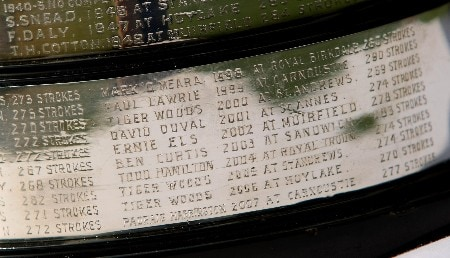 JOHANNESBURG, SOUTH AFRICA - JANUARY 15:  The names of recent winners and defending champion Padraig Harrington are seen on The Claret Jug during the first round of The 2008 Open Championship, International Final Qualifying, Africa at Royal Johannesburg & Kensington Golf Club on January 15, 2008 in Johannesburg, South Africa.  (Photo by Richard Heathcote/Getty Images)