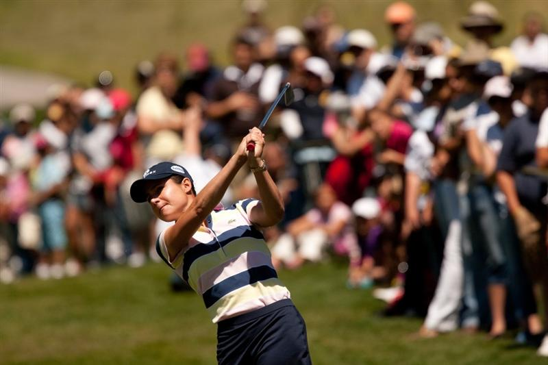 MORELIA, MEXICO - MAY 1: Lorena Ochoa of Mexico plays an approach shot during the third round of the Tres Marias Championship at the Tres Marias Country Club on May 1, 2010 in Morelia, Mexico. (Photo by Darren Carroll/Getty Images)