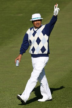PEBBLE BEACH, CA - FEBRUARY 9: Actor George Lopez waves to the crowd during the third round of the AT&T Pebble Beach National Pro-Am at Pebble Beach Golf Links February 9, 2008 in Pebble Beach, California.  (Photo by Jed Jacobsohn/Getty Images)