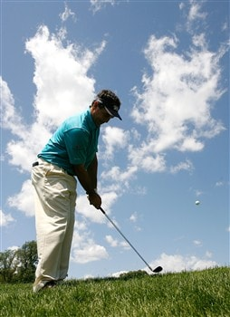 SILVIS, IL - JULY 13:  Brad Adamonis chips onto the fourth green during the final round of the 2008 John Deere Classic at TPC at Deere Run on Sunday, July 13, 2008 in Silvis, Illinois.  (Photo by Kevin C. Cox/Getty Images)