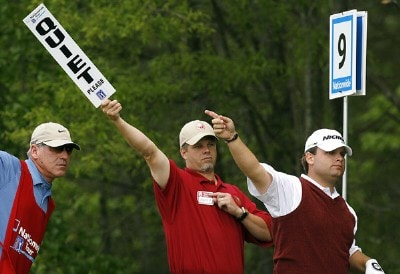 Jon Turcott (right) aids a volunteer in pointing out the direction of his tee shot on the ninth hole during the second round of the 2007 Athens Regional Foundation Classic Friday, April 20, 2007, at the Jennings Mill Country Club in Bogart, Georgia. Nationwide Tour - 2007 Athens Regional Foundation Classic - Second RoundPhoto by Kevin C.  Cox/WireImage.com