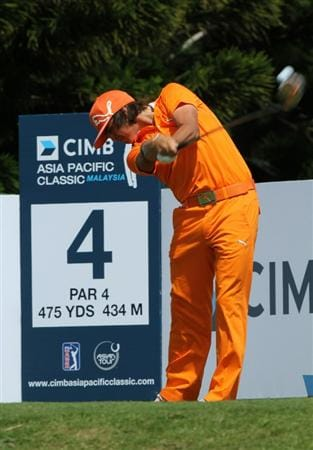KUALA LUMPUR, MALAYSIA - OCTOBER 31: Rickie Fowler of USA tees off on the 4th hole during day four of the CIMB Asia Pacific Classic at The MINES Resort & Golf Club on October 31, 2010 in Kuala Lumpur, Malaysia. (Photo by Stanley Chou/Getty Images)