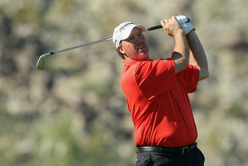 LA QUINTA, CA - JANUARY 21:  Boo Weekley hits a tee shot on the eighth hole during the third round of the Bob Hope Classic at the Silver Rock Resort on January 21, 2011 in La Quinta, California.  (Photo by Jeff Gross/Getty Images)