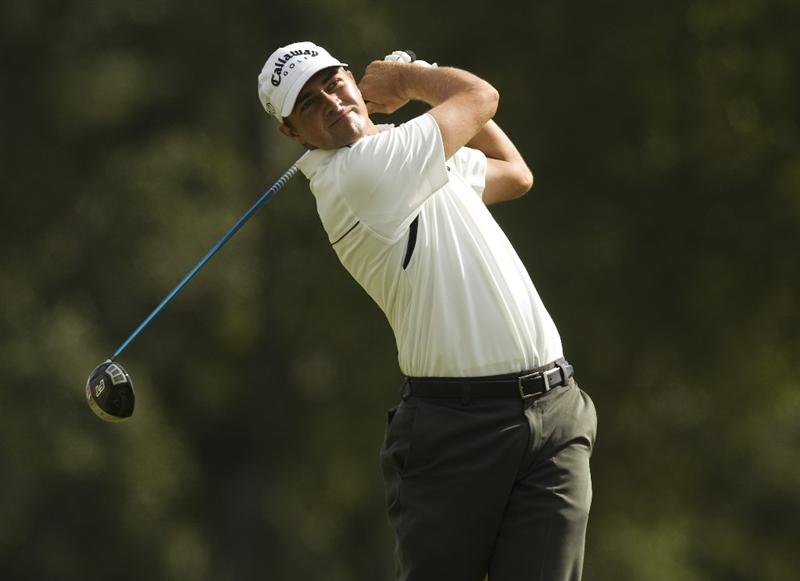 CHARLESTON, SC - OCTOBER 22: Brian Stuard watches his drive on the third hole during the first round of the Nationwide Tour Championship at Daniel Island on October 22, 2009 in Charleston, South Carolina. (Photo by Chris Keane/Getty Images)