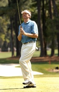 Tim Petrovic reacts to a missed birdie attempt on the 8th green during the first round of the 2007 Verizon Heritage Classic at Harbour Town Golf Links in Hilton Head Island on April 9 PGA TOUR - 2007 Verizon Heritage - First RoundPhoto by Steve Grayson/WireImage.com