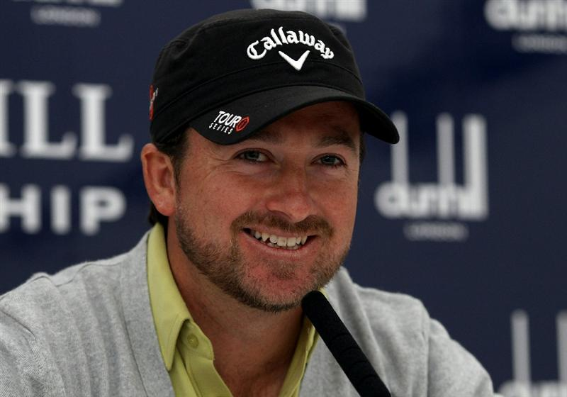 ST ANDREWS, SCOTLAND - OCTOBER 06:  Graeme McDowell of Northern Ireland speaks to the media during the practice round of The Alfred Dunhill Links Championship at The Old Course on October 6, 2010 in St Andrews, Scotland.  (Photo by Scott Halleran/Getty Images)