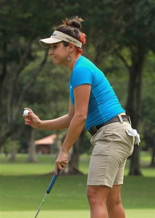 RIO DE JANEIRO, BRAZIL - MAY 29:  Mariajo Uribe of Colombia waves to the gallery on the 16th hole during the final round of the HSBC LPGA Brazil Cup at the Itanhanga Golf Club on May 29, 2011 in Rio de Janeiro, Brazil.  (Photo by Scott Halleran/Getty Images)