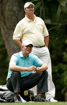 HILTON HEAD, SC - APRIL 19:  Lucas Glover (L) waits on the fifth tee with Boo Weekley during the third round of the Verizon Heritage at Harbour Town Golf Links April 19, 2008 in Hilton Head, South Carolina.  (Photo by Streeter Lecka/Getty Images)
