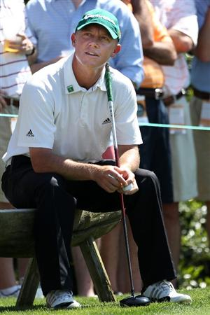 AUGUSTA, GA - APRIL 06:  Nathan Green of Australia waits on a tee box during a practice round prior to the 2010 Masters Tournament at Augusta National Golf Club on April 6, 2010 in Augusta, Georgia.  (Photo by Andrew Redington/Getty Images)