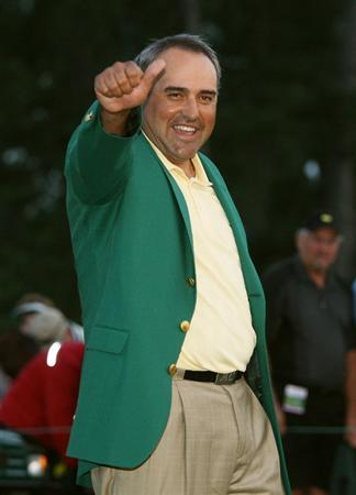 AUGUSTA, GA - APRIL 12:  Angel Cabrera of Argentina celebrates during the green jacket presentation after defeating Kenny Perry on the second sudden death playoff hole to win the 2009 Masters Tournament at Augusta National Golf Club on April 12, 2009 in Augusta, Georgia.  (Photo by Andrew Redington/Getty Images)