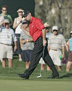 Rod Pampling makes a birdie on the 13th hole in action during the third round of the Bay Hill Invitational presented by MasterCard at the Bay Hill Club in Orlando, Florida on March 18, 2006.Photo by Michael Cohen/WireImage.com